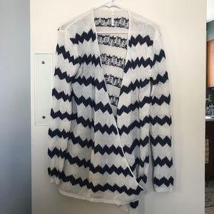 Adorable knit crossover chevron cardigan